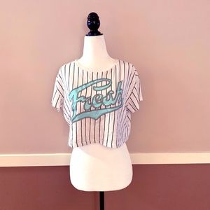 NWOT Baseball Stripe Crop Top by Divided - Small